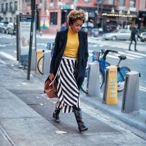 Topshop Stripe Hanky Hem Midi Skirt